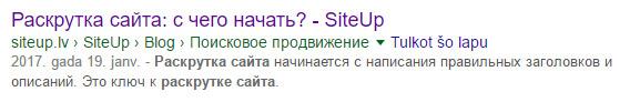 Раскрутка сайта - вот так это выглядит при поиске