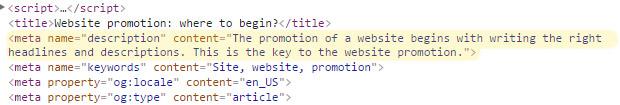 Website promotion - how it looks like in code